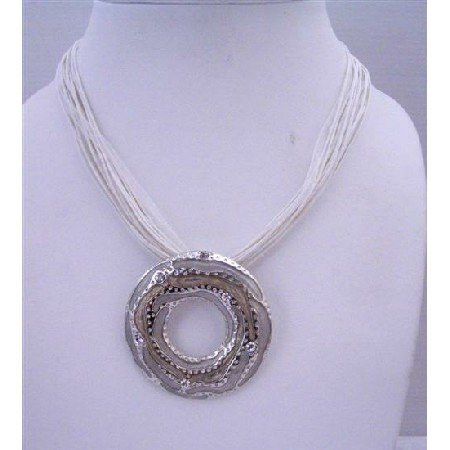 N465  Affordable Necklace Ethnic Cool White Necklace w/ Round Pendant