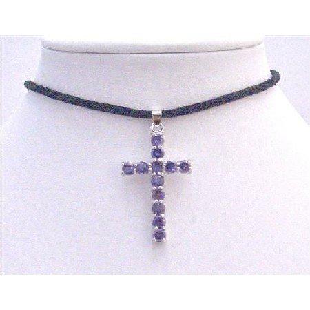 N582 Fashionable Necklace Jewelry w/Simulated Crystals & Blue Cross Pendant Dangling