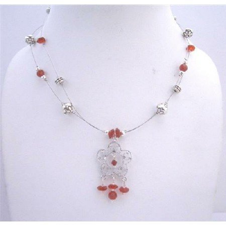 N417 Red Bali Silver Beaded Wire Necklace Double Stranded w/ Silver Plated Pendant