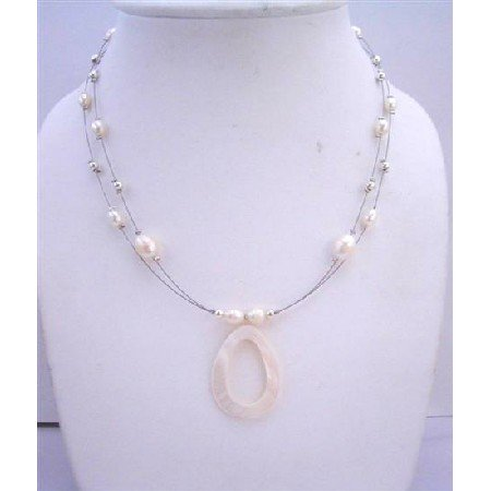 N451  Cream Shell Pendant Freshwater Pearls w/ Bali Silver Beads Double Stranded Wire Neckalce