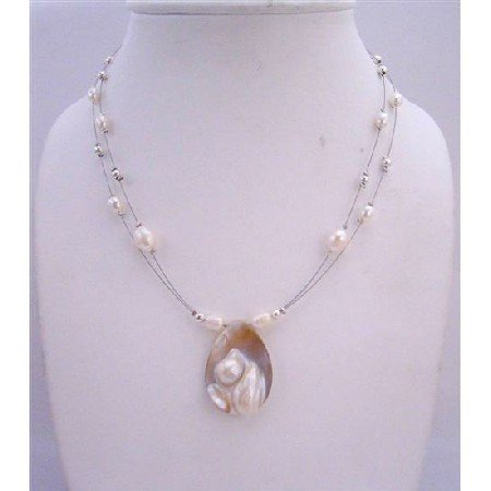 N454  Natural Shell Pearls Pendant Double Stranded Wire Necklace w/Pearls & Silver Beads