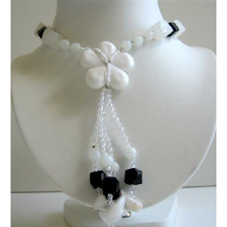N429  White Flower Glass Pendant Tassel Necklace Black & White Beads Long Necklace