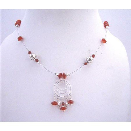 N436  Sterling Silver Multi Round Pendant Necklace Red Multifaceted Glass Beads & Silver Bali Beads