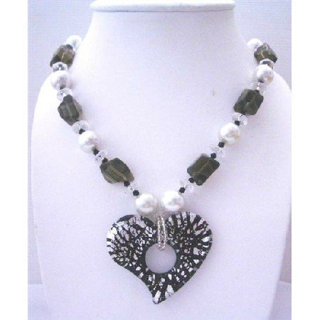 N635  Murano Heart Glass Pendant w/ Fancy Glass Beads 30 Inches Long Necklace