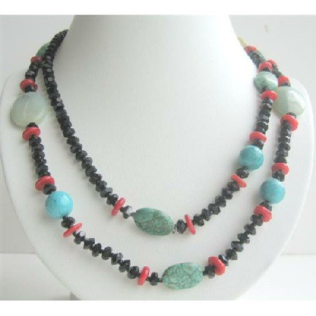 N448  Semi Precious Stone Beaded Long Necklace Coral Onyx Turquoise & Multi Beads Necklace