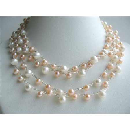 N447  Freshwater Pearls Long Necklace 68 Inches White Peach Freshwater Pearl
