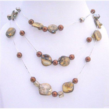 N116  Three Stranded Necklace Brown Shell w/ Brown Simulated Pearls Brown Beads Necklace