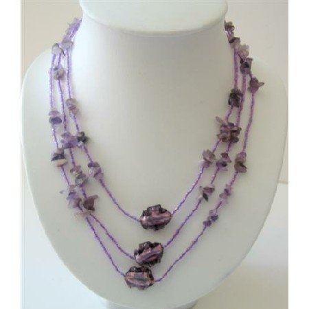 N467  Long Purple Necklaces 60 Inches Beaded Amethyst Nugget Long Necklace