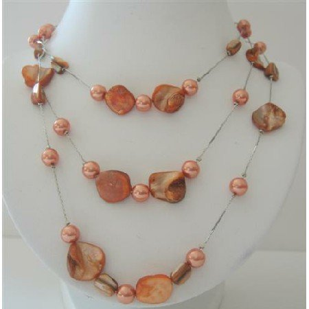 N560  Peach Shell & Pearls 3 Stranded Long Necklace Shell w/ Simulated Pearls 26 Inches Necklace