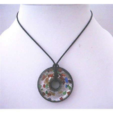 N642 Painted Murano Glass Round Pendant Genuine Glass Pendant Painted w/ Black Chord Necklace