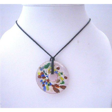 N648 Murano Glass Round Hand Painted Pendant Glass Pendant Painted w/ Black Chord Necklace