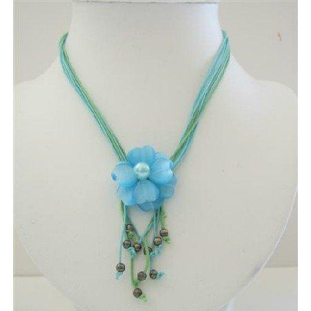 N659  Multi Stranded Neckalce w/ Cool Blue Flower Pendant