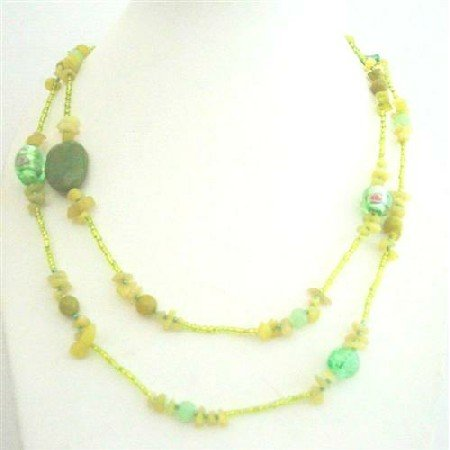 N622  Apple Jade Stone Nugget Millefiorri Mirano Glass Beads Long Necklace Multi Assorted Beads