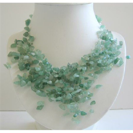 N402  Beautiful Green Jade Stone Chips Nugget Beads Necklace Multi Dangling Tassel Necklace