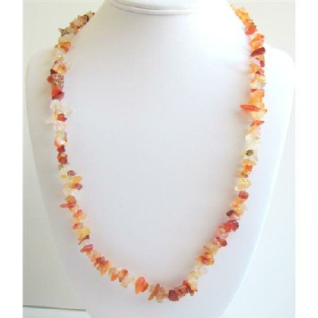 N038  Carnelian Stone Nugget Long Necklace 34 Inches Long Nugget Necklace