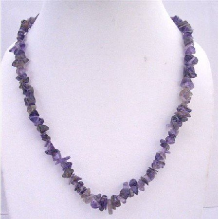 N403  Amethyst Nugget Long Necklace 36 Inches Necklace Jewelry