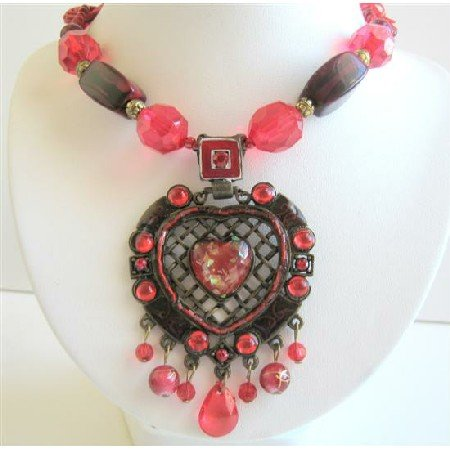 N039  Beautiful Necklace Sexy Red Heart Embedded In Ethnic Oxidized Metal Multi Stings Necklace
