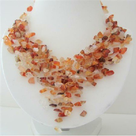 N567  Carnelian Stone Nugget Necklace Stone Chip Multiple Drop Tassel Lovely Necklace