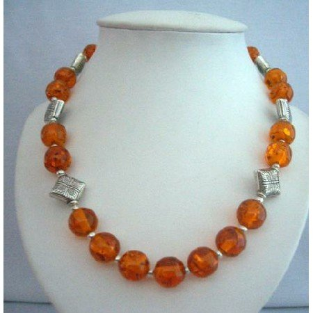 N356  Natural Amber Beads Jewelry Necklace Silver Bali Spacing Round Beads