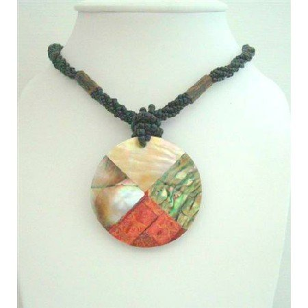 N614Black Beaded Necklace w/ Coral Mother Shell Abalone Pendant All Embedded Pendant Necklace