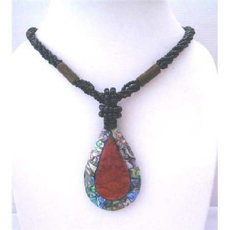 N405  Multi Strand Black Beaded Necklace With Abalone Teardrop Embedded Coral Stone