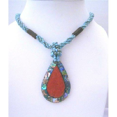 N486  Multi Strand Turquoise Beaded Necklace With Abalone Teardrop Embedded Coral Stone