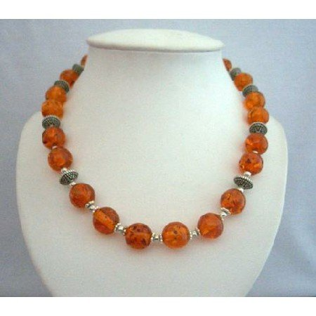 N355  Genuine Amber Beads Jewelry Necklace w/ Bali Silver Spacing Round Beads