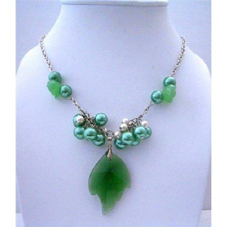 N513  Emerald Crystals Leaf Pendant Fashion Jewelry w/ Simulated Crystals Pendant and Pearls