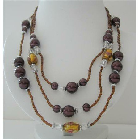 N569  3 Stranded Golden Beads Necklace Simulated Brown Pearls Millefiori Painted Beads