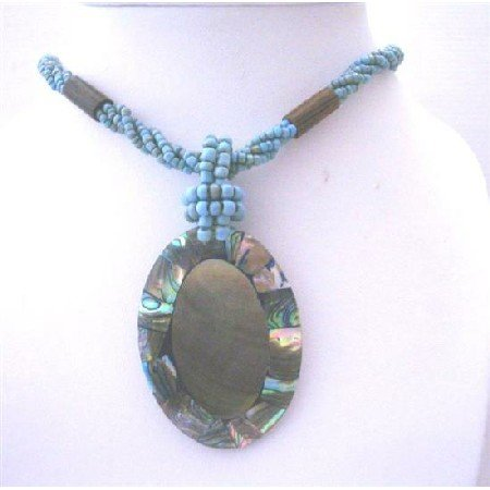 N631  Turquoise Beaded Multi Strands Necklace w/ Abalone Shell Pendant Cream Color