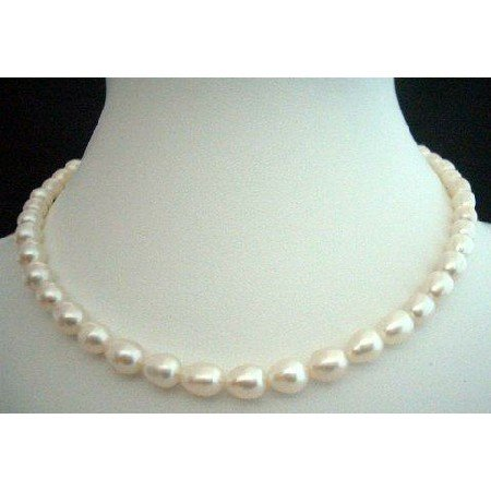 N237  White Freshwater Pearls Necklaces 16 inches Choker