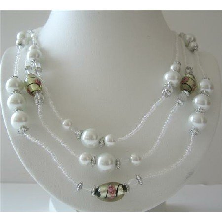 N570  White Beaded 3 Stranded Necklace White Pearls Millefiori Painted Beads Long Necklace