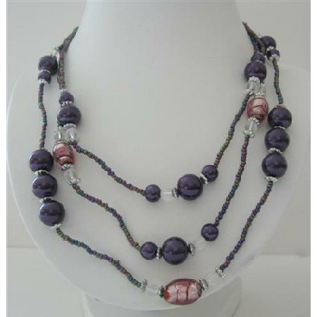 N568  Three Stranded Beaded Necklace Simulated Purple Pearls Millefiori Painted Beads