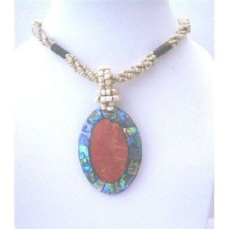 N472  Shell Pendant Necklace w/ Abalone Oval Pendant Necklace