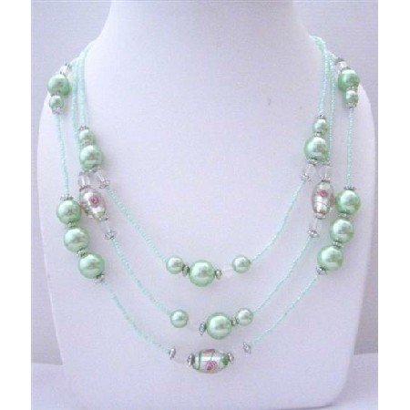 N636  Light Green Multi Beaded 3 Strands Necklace pink Pearls Millefiori Painted Beads