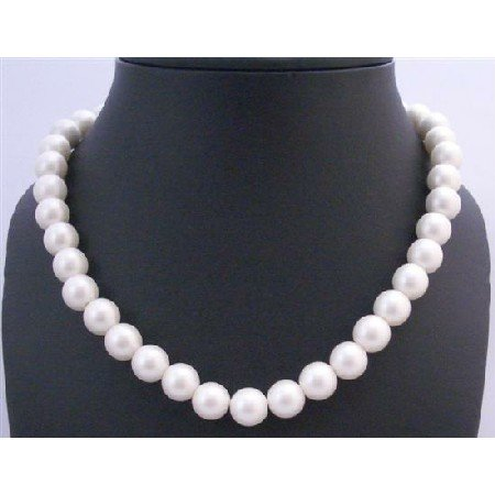 U217  Stretchable White Pearls Necklace Choker 12mm Pearls Very Classy & Beautifully Pearls Necklace