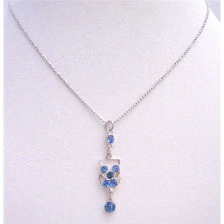 UNE220  Dangling Pendant Necklace Silver Frame Dangling Embedded w/ Blue Cubic Zircon