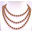 UNE110  Long 2 Or 3 Strands Brown Necklace Lucite Brown Bead Long Necklace 54 Inches