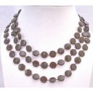 UNE115  Flat Brown Darkest Brown Long Necklace Unique New Flat Bead Necklace 54 Inches Long