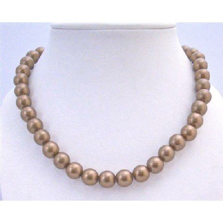 U092  Brown Pearls 12mm Stretchable Necklace Choker Stylish Bridemaids Necklace