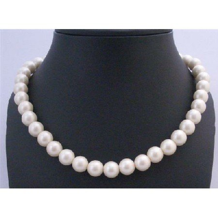 U098 Bridemaids Flower Girl Ivory Pearls Stretchable Pearls Necklace Ivory PearlsNecklace