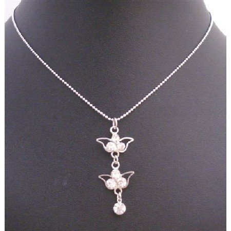 UNE222  Cubic Zircon Dangling Pendant Necklace Silver Frame Dangling Embedded w/ Cubic Zircon