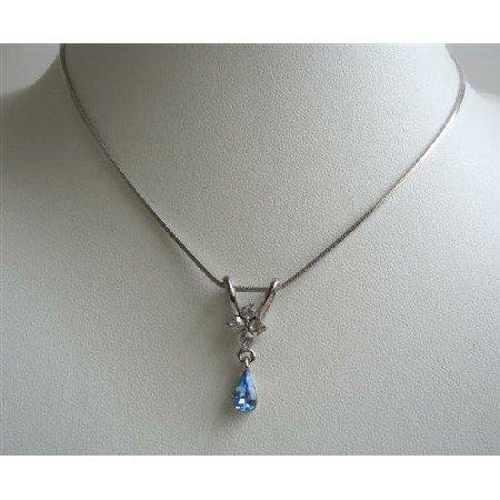 UNE223  Cute Pendant Necklace w/ Blue Cubic Zircon Teardrop Dangling Pendant Necklace