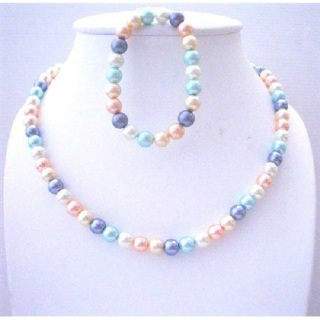 UNS029  Multi Colored Simulated Pearls Necklace & Stretchable Bracelet