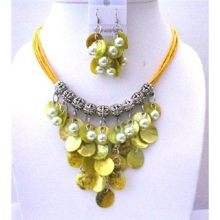 UNS027Lime Mop Shell NEcklace Set w/ Synthetic Pearls Bead Multi Strands Threaded Necklace Sets
