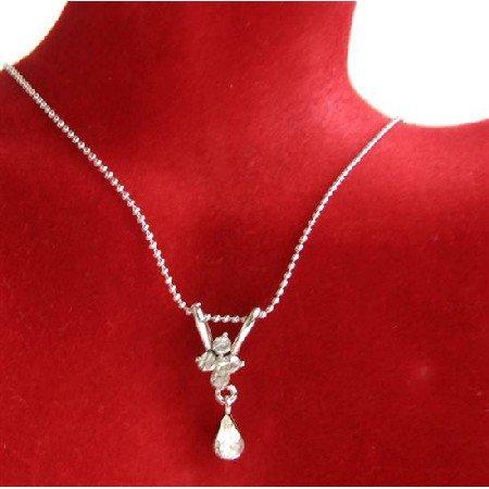 UNE226  Cubic Zircon Teardrop Necklace w/ Cute Pendant Dangling Pendant Necklace
