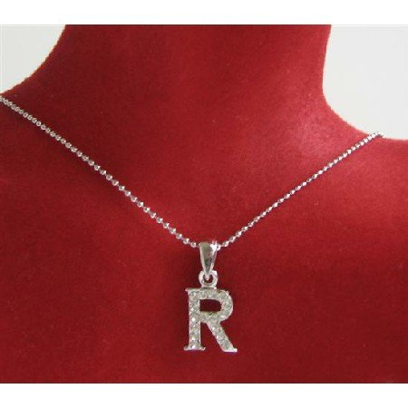 UNE229 Alphabet Pendant Necklace Letter R Fully Embedded w/ Cubic Zircon Pendant Necklace