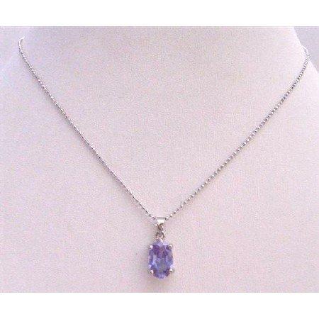 UNE217  Light Amethyst Cubic Zircon Faceted Pendant Necklace
