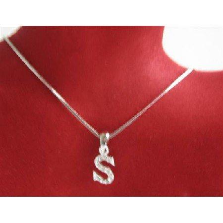 UNE233  Shimmering Cubi Zircon Alphabet Pendant Necklace Letter S Pendant Necklace