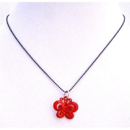 UNE211  Sparkling Red Butterfly Pendant Black Beaded Choker Necklace Butterfly Pendant